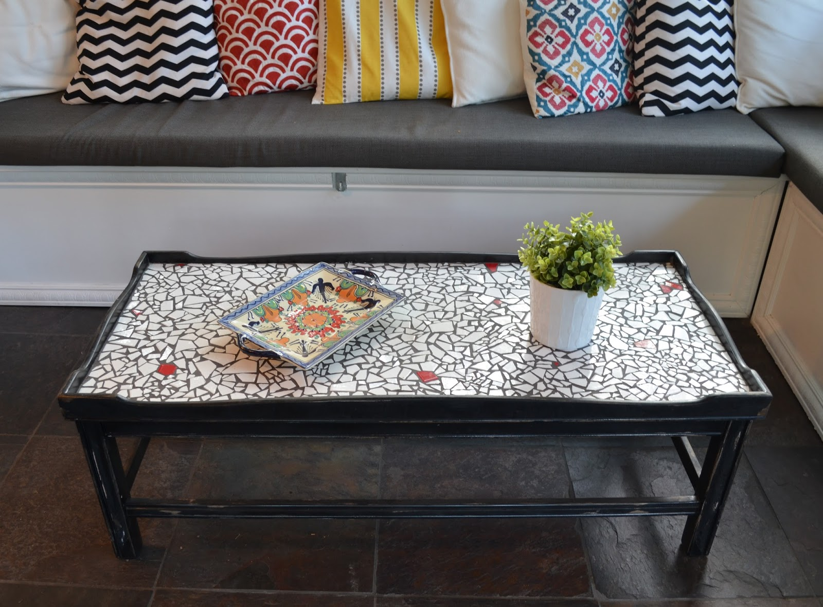 Annetique designs completed furniture for Mosaic coffee table designs
