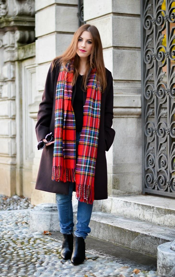 tartan scarf FrontRowShop Jil Sander Coat Zign Boots Zalando Wildfox Sunglasses Bel Air Rimmel Kate Moss 107