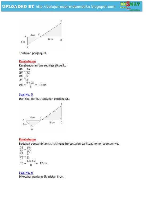 soal matematika kongruensi dan kesebangunan pembahasannya