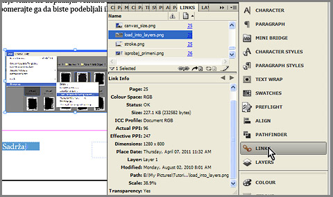 Expand links panel in InDesign
