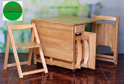 Bộ bàn ghế xếp tự nhiên chữ nhật Lộc Lâm Furniture