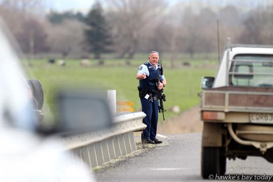 Armed police on the Ashcott Bridge on Ashcott Rd, south of Waipukurau. Police arrested a man. photograph