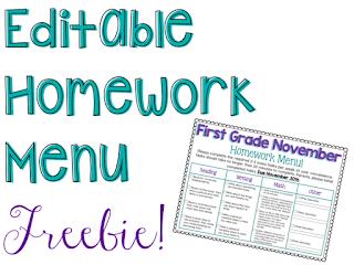 https://www.teacherspayteachers.com/Product/Editable-Homework-Menu-2198799