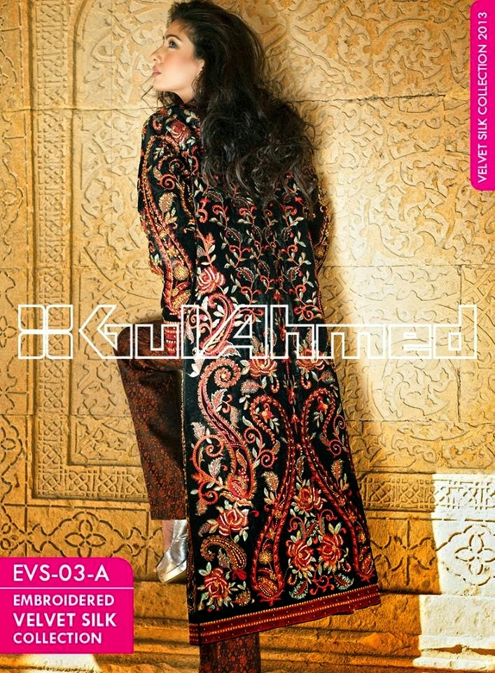GulAhmedEmbroideredSilkVelvetCoats wwwfashionhuntworldblogspotcom 002 - Gul Ahmed Embroidered Silk Velvet Coats 2014