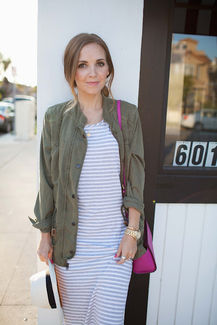 Merrick's Art | Midi Dress, Military Jacket, Pink Bag