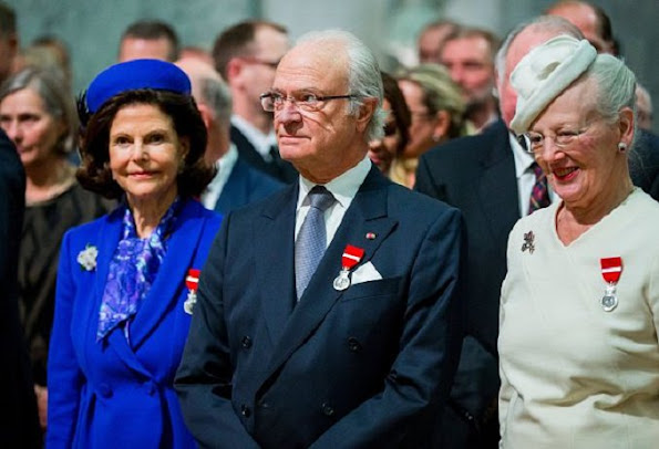 King Carl Gustaf and Queen Silvia of Sweden, Queen Margrethe of Denmark, Queen Sonja and King Harald V of Norway,  Crown Prince Haakon, Crown Princess Mette Marit, Prince Sverre Magnus, Princess Ingrid Alexandra, Princess Märtha Louise, Ari Behn and Prime Minister Erna Solberg