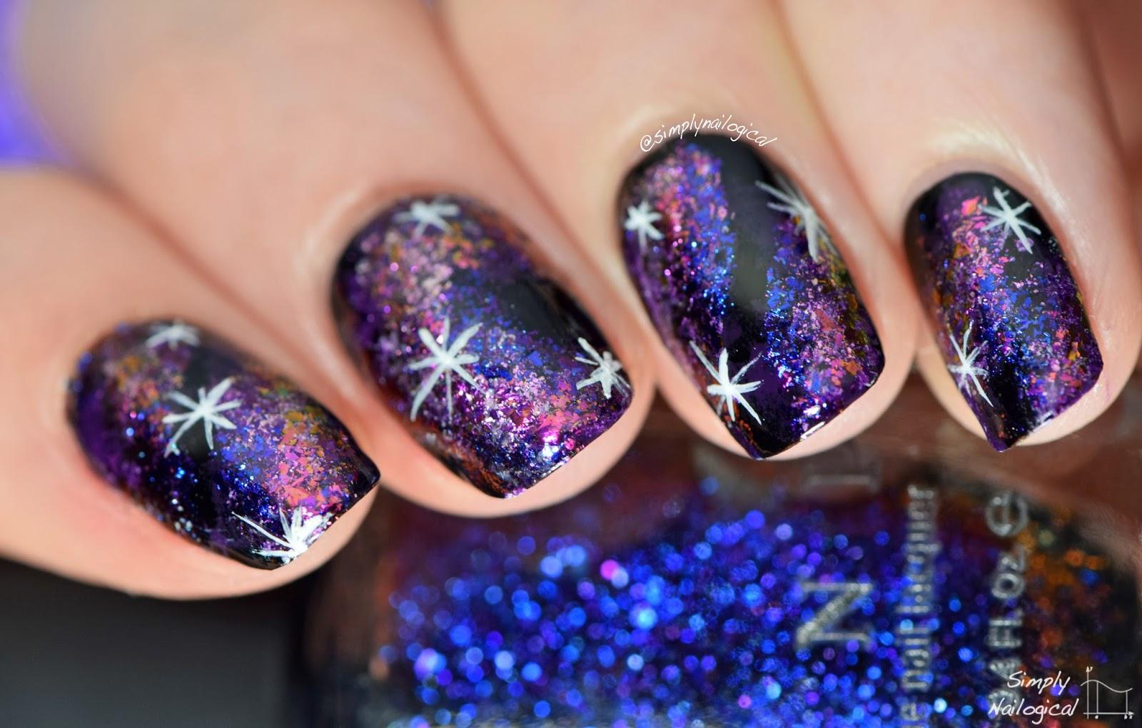Simply Nailogical: Dark galaxy nails using ultra-chrome flakies