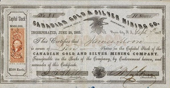 stock certificate of the Canadian Gold and Silver Mining Company