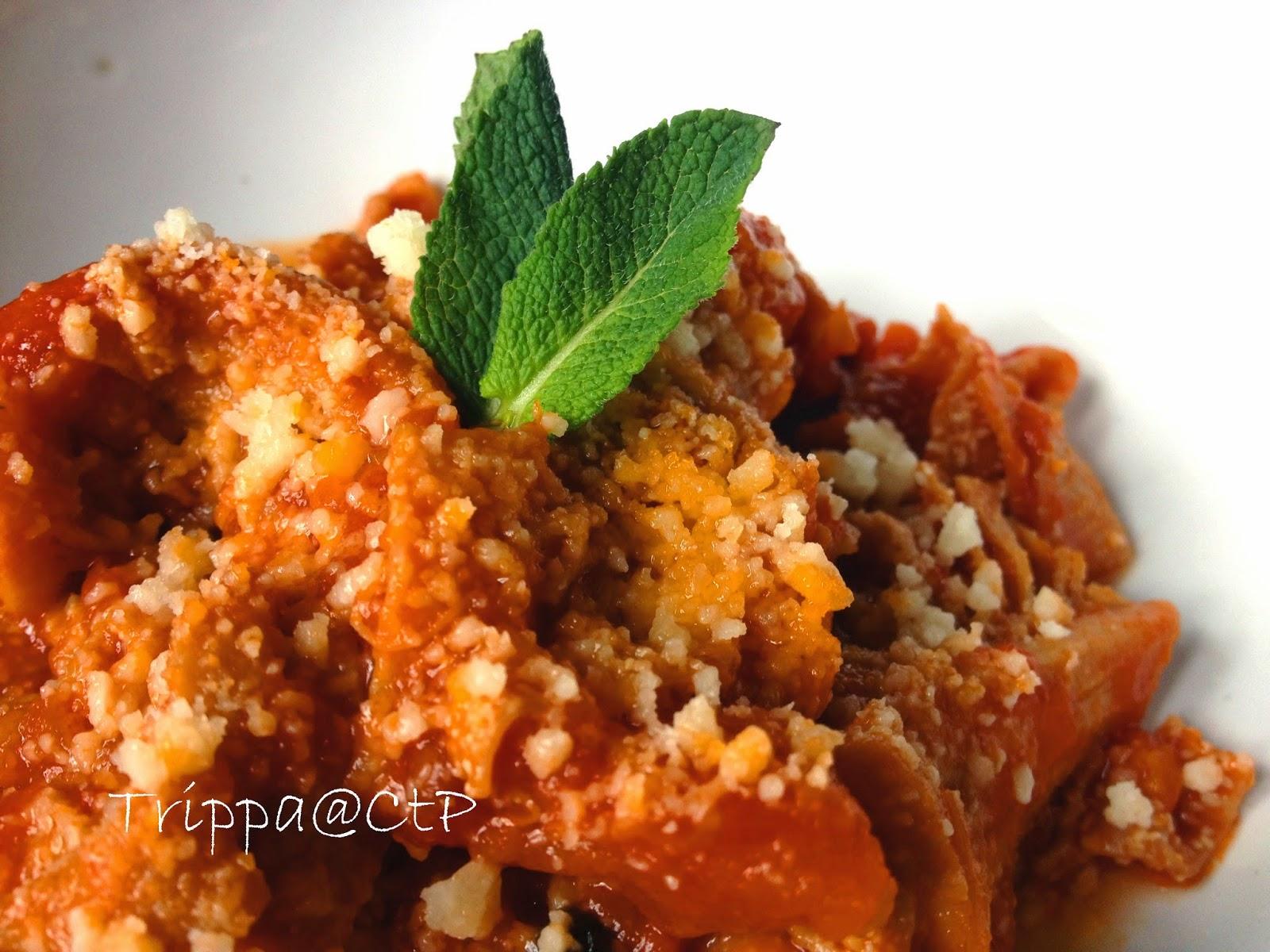 ricetta trippa alla romana con menta e parmigiano pomodoro
