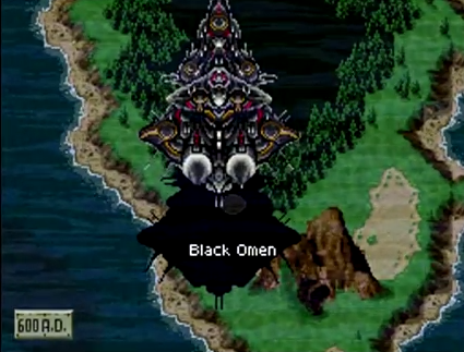 The Black Omen, the final dungeon of Chrono Trigger, floating ominously above the landscape of 600 AD