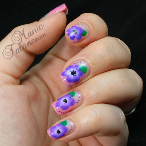 One stroke flowers, Couture gel polish, French affair