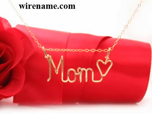 Gold-filled wire necklace personalized Jewelry - Mom with heart charm