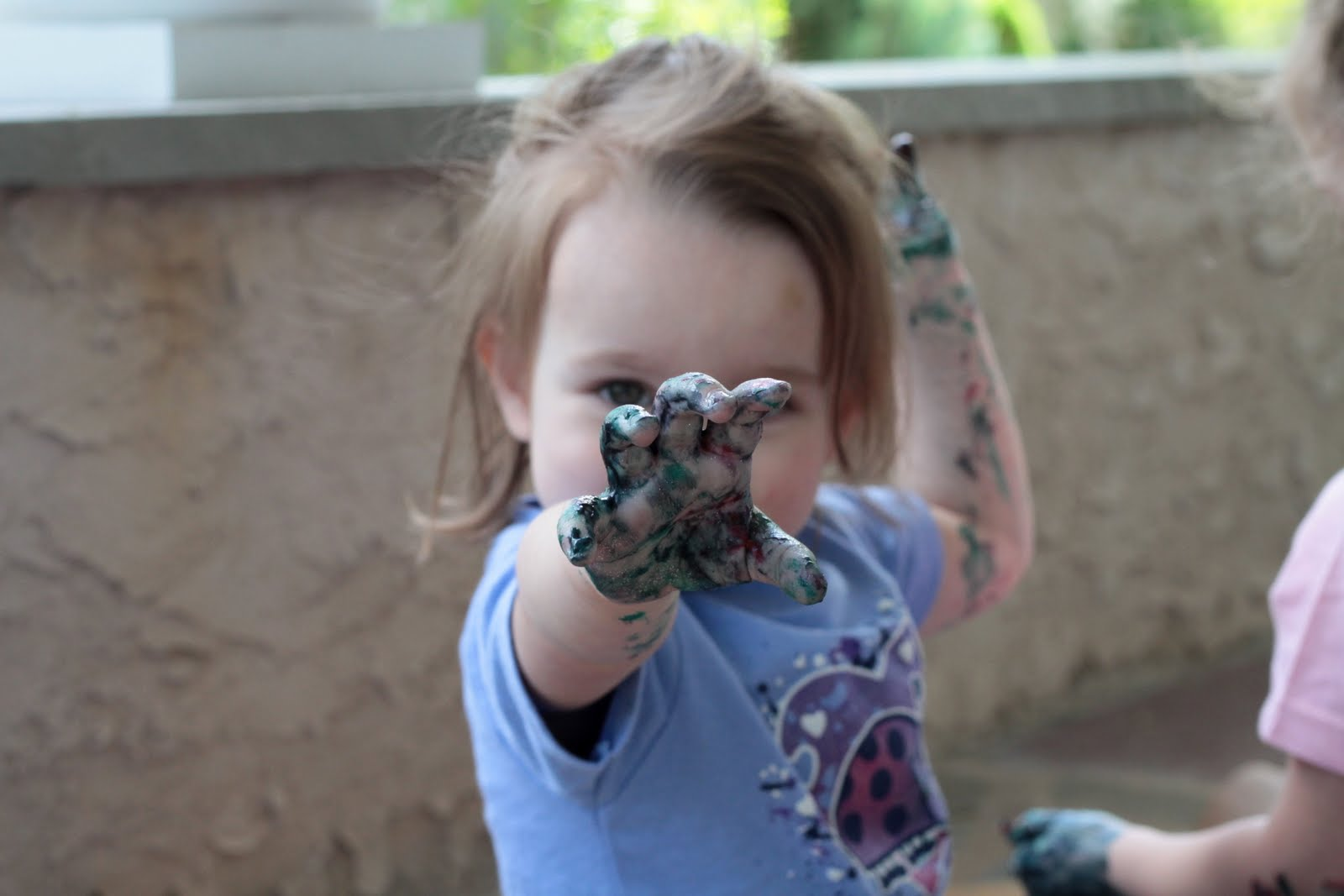 Sofia Was Massaging Her Hands With The Paint And If You Can See In Background Olivia Began Feet Silly Little Girls