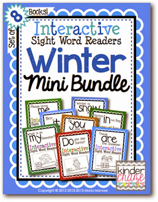 Winter theme MINI bundle of the best-selling Interactive Sight Word Readers