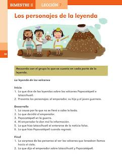Apoyo Primaria Español 2do grado Bloque 2 lección 7 Los personajes de la leyenda