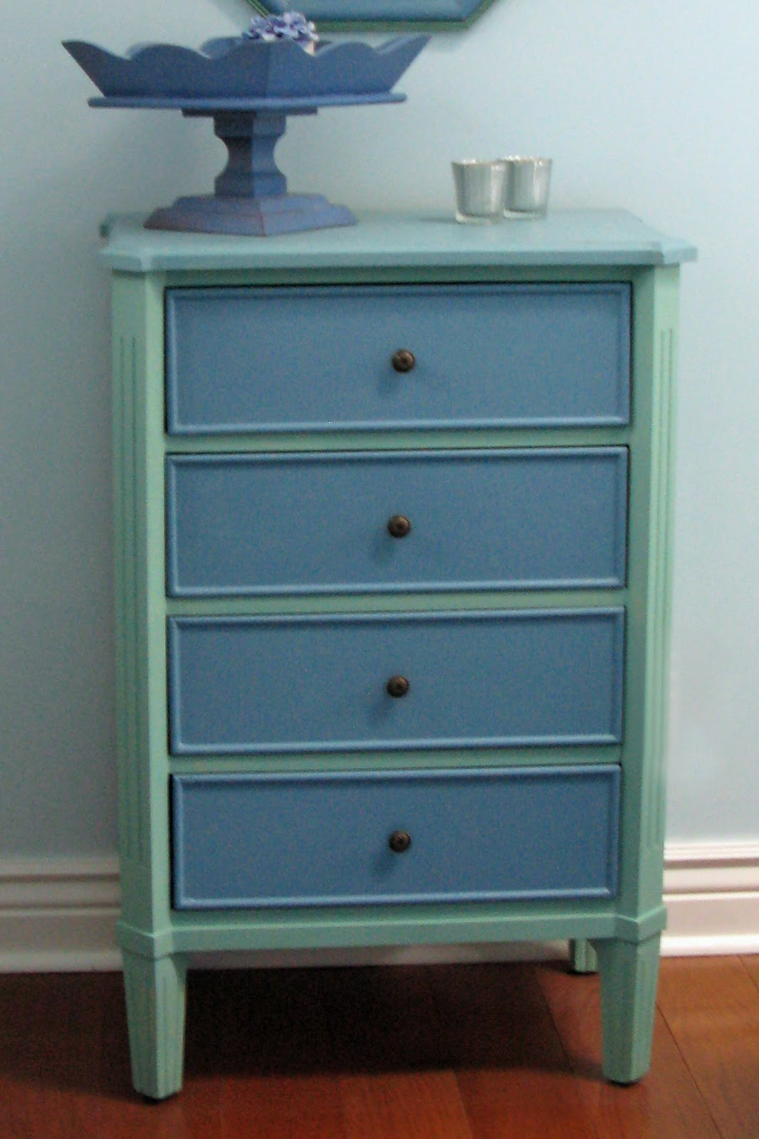 There are three colors of paint on this one little dresser  the top  sides  and drawers are all different. Just Grand  Before and After   Mini Chest of Drawers  Re do