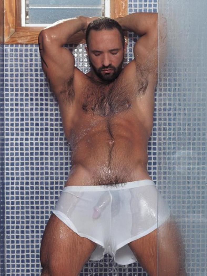 Dick bulge wet shorts