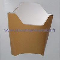 Barquette en carton couleur marron pour grande portion de frites