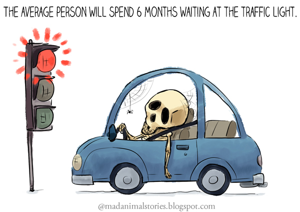 the average person will spend 6 months waiting at the traffic light