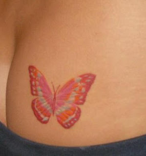 Pink Butterfly Tattoo Design on Butt