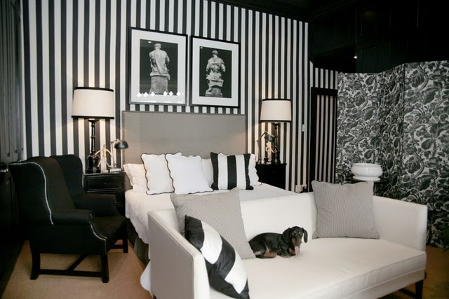 The modern sophisticate timeless black white stripes for Black and white wallpaper for bedroom