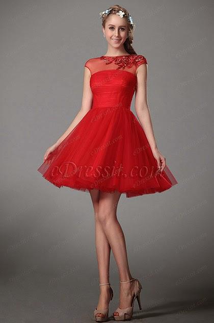 Короткие пышные красные платья фото