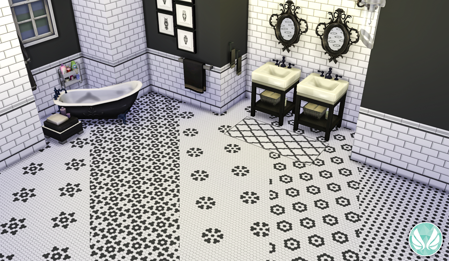 Simsational Designs Black And White Hexagon Floor Tiles