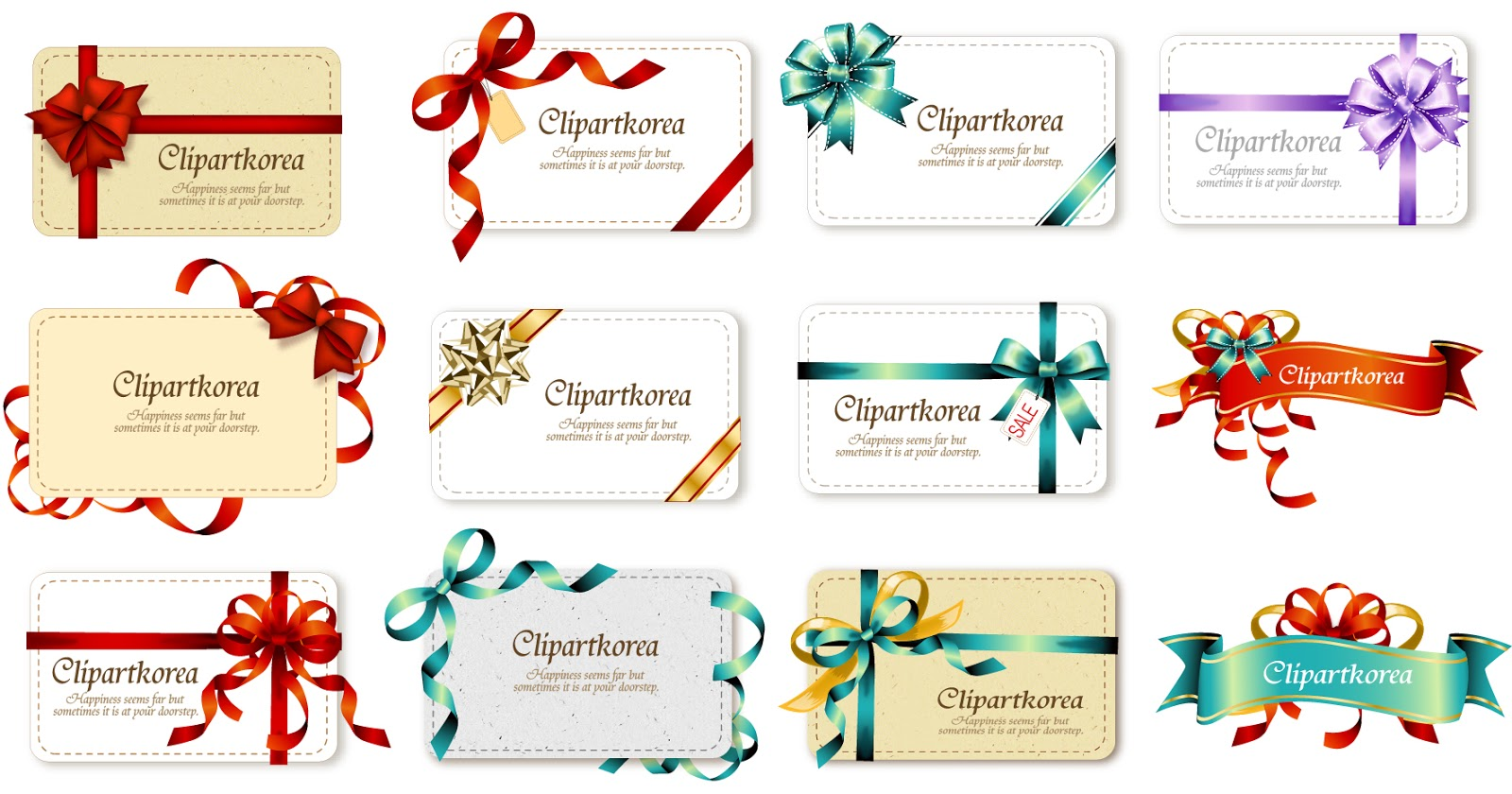 Free vector bow ribbon gift card vector 4 negle Image collections