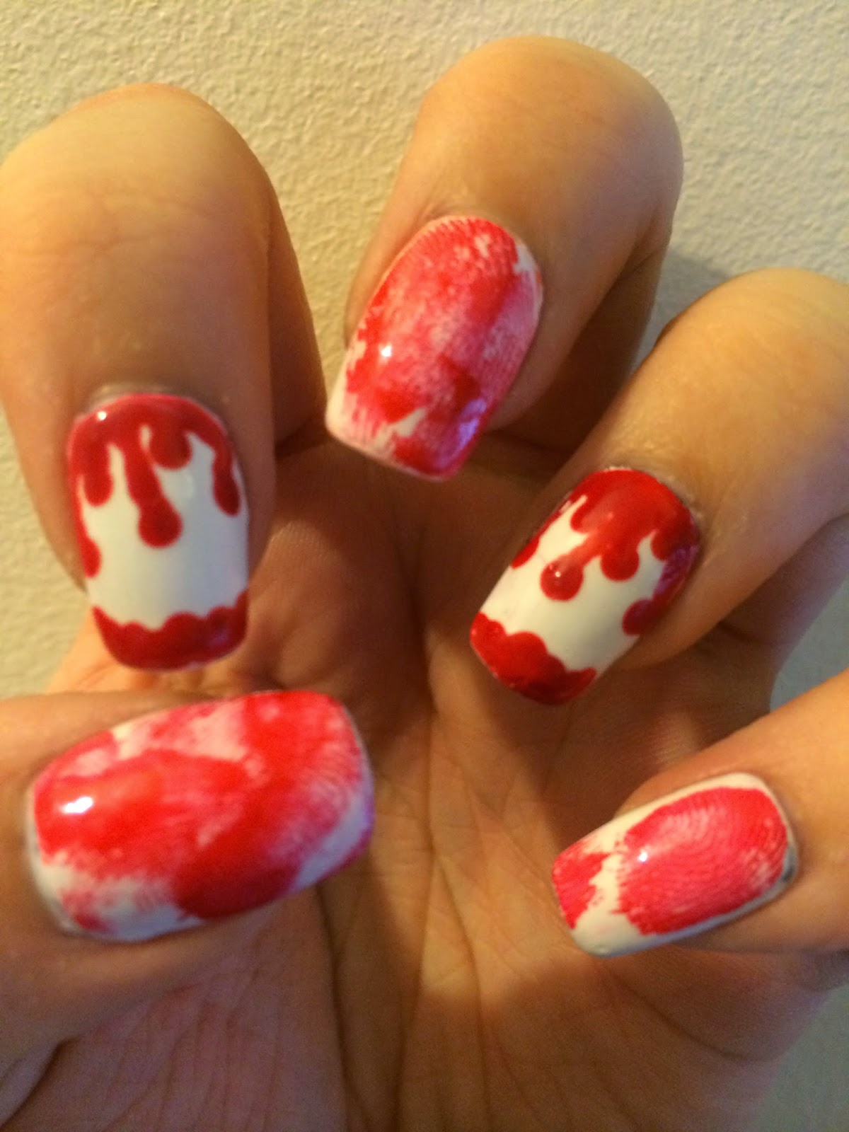 Bloody Fingerprint Halloween Nail Art