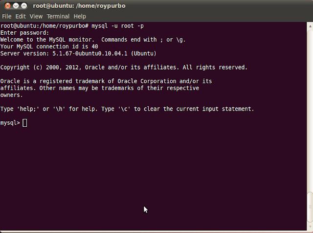 masuk kedalam MySQL