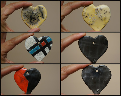 Charming raku pottery heart pendants from horsehair raku and glazed raku.