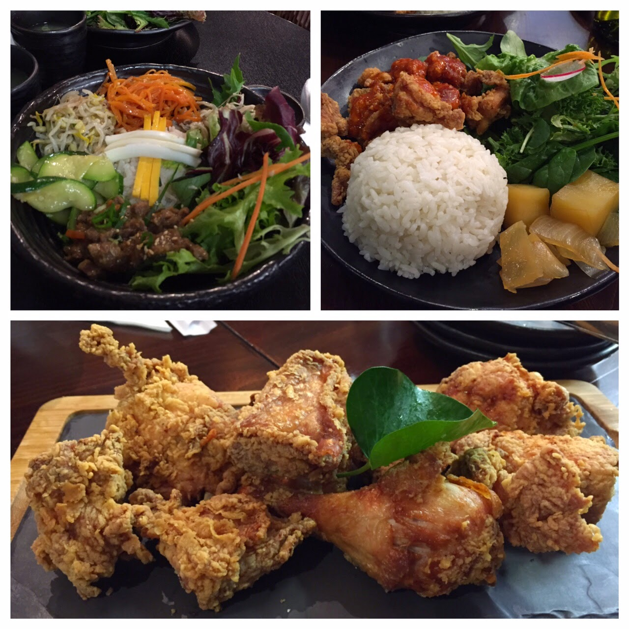 bibimbap, Korean fried chicken