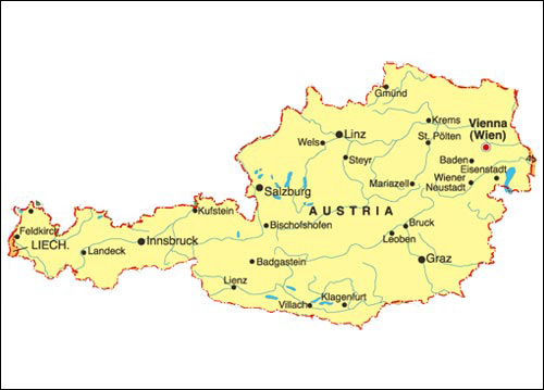 Map Of Austria Geography Area Map Of Austria Region Geography - Political map austria
