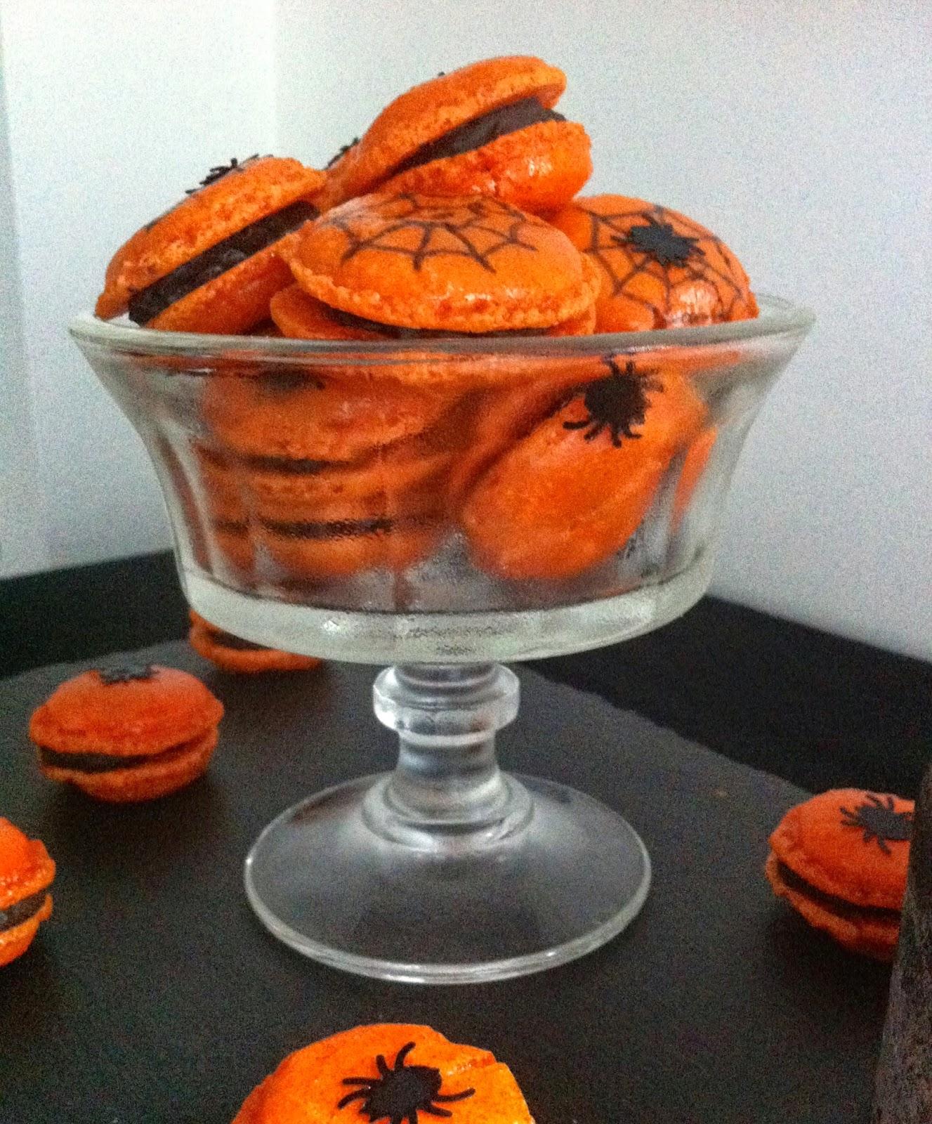 sucre, macaron, halloween, chocolat, orange
