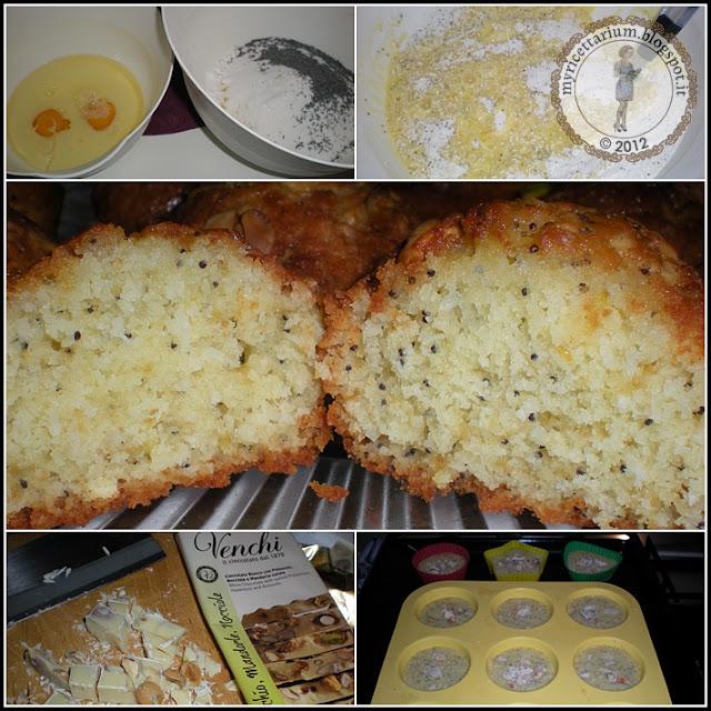 Muffin cocco e limone con semi di papavero