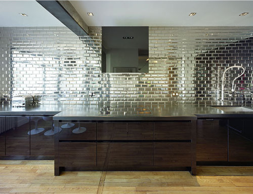 Tropical shimmer mirrored subway tile splashback for Subway tile splashback