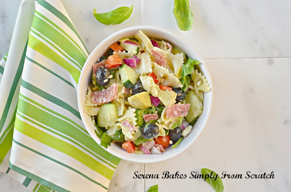 Italian Antipasto Pasta Salad with Basil Vinaigrette filled with salami, artichoke hearts and olives | Serena Bakes Simply From Scratch