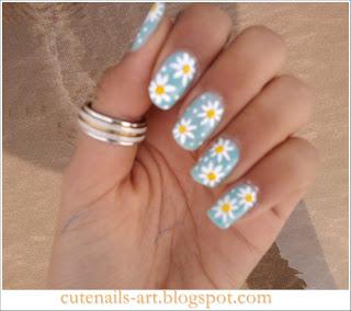 cutenailsart spring nails art  daisy flowers