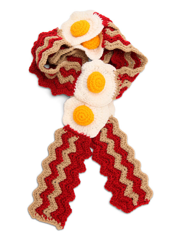 Free Crochet Pattern Bacon Scarf : Bacon Dippers Gallery: Bacon Egg Crocheted Scarf