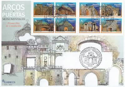 Sobre Primer Día de Circulación de los sellos de Arcos y Puertas 2014