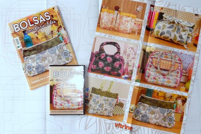 Bolsas com Maria Adna, DVD com bolsas, Livreto com bolsas, Encarte com seis moldes de bolsas