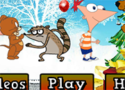 Rigby en heroes xmas Fighting