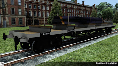 Fastline Simulation: A clean dia. 1/472 Bogie Bolster D with imperial weights and a load of pipes.
