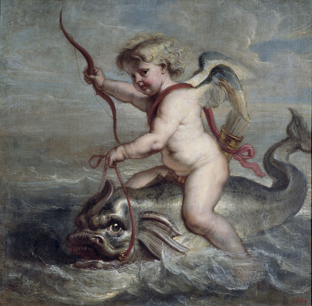 A painting of cupid riding on a dolphin