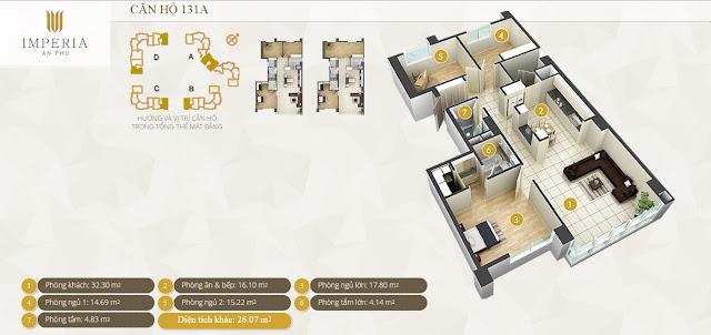 Mặt bằng căn hộ Imperia An Phú 131 m2 3 phòng ngủ