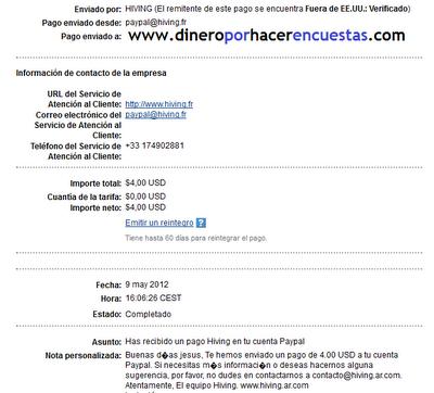 comprobante de pago de hiving argentina