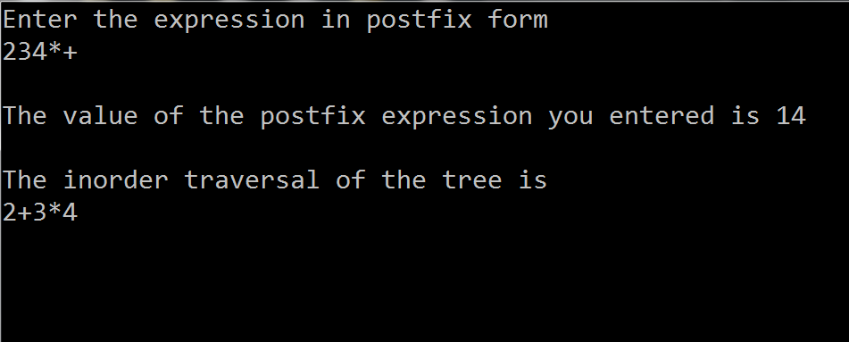 C code to implement Postfix Expression Tree
