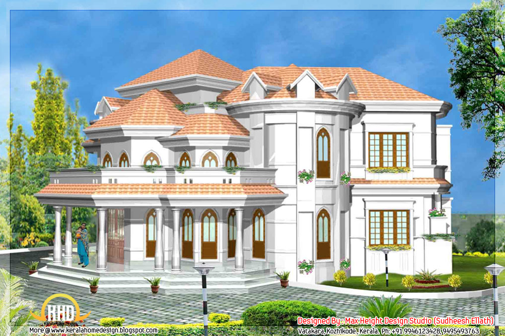 5 kerala style house 3d models kerala home design kerala for Kerala house model plan
