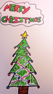 Photo of a drawing of a Christmas Tree