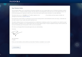 How to get pandora in canada